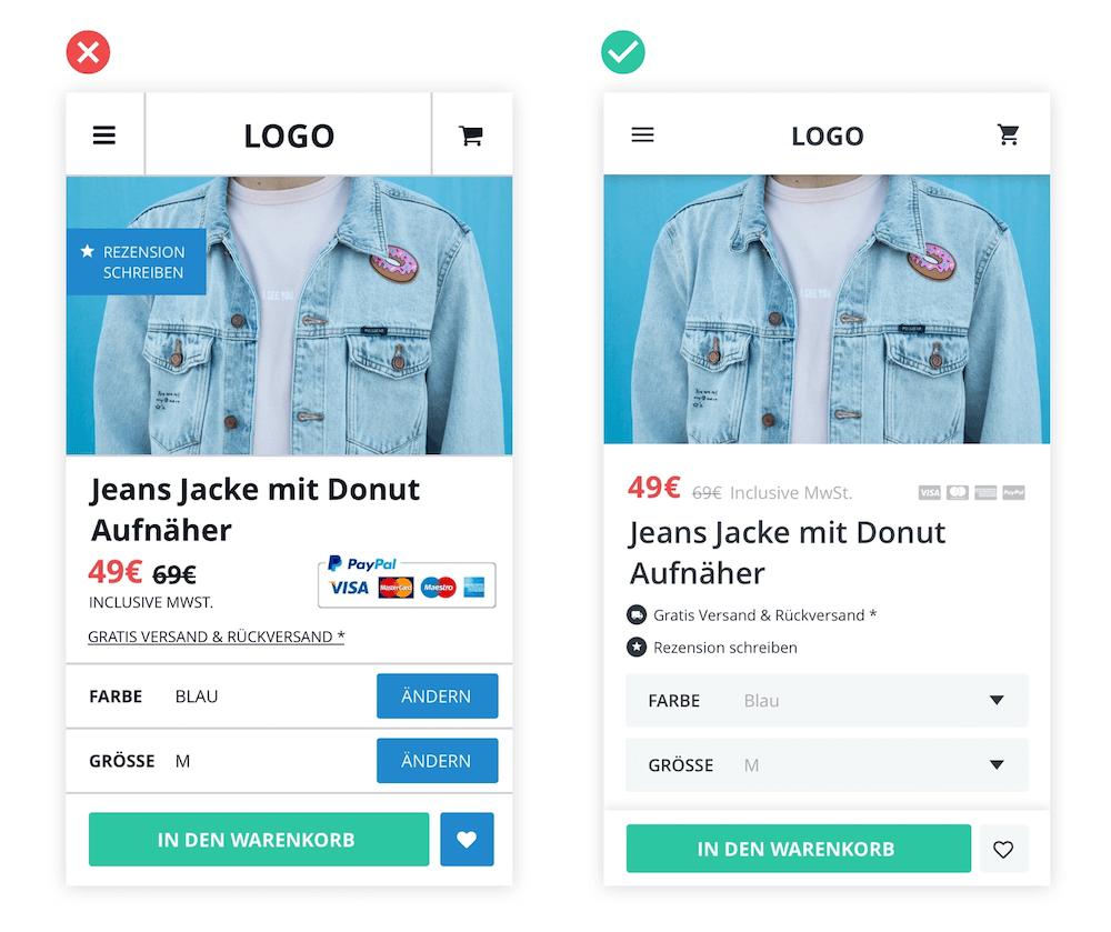 UX von zwei Produktdetailseiten